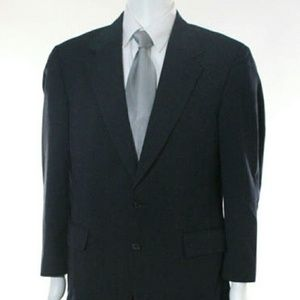 FULL BROOKS BROTHERS NAVY BLUE WOOL STRIPED SUIT
